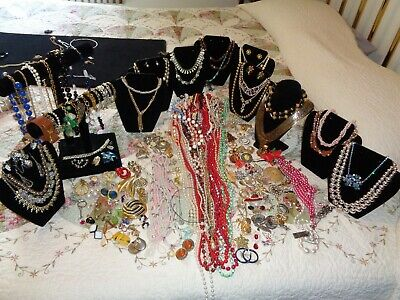 $ CDN136.20 • Buy HUGE Vintage Rhinestone Jewelry Lot, Signed & Not, VERY Cool Mix Of Jewels,Beads