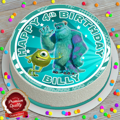 Monsters Inc Birthday Personalised Edible Icing Sheet 7.5 Inch Cake Topper 757 • 4.99£