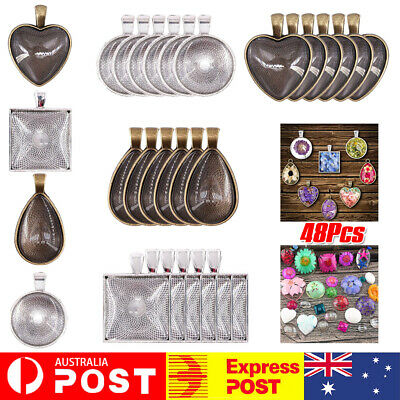 AU12.76 • Buy 24 Sets DIY Cabochon Bezel Frame Pendant Settings Jewelry Necklace + Blanks Tray