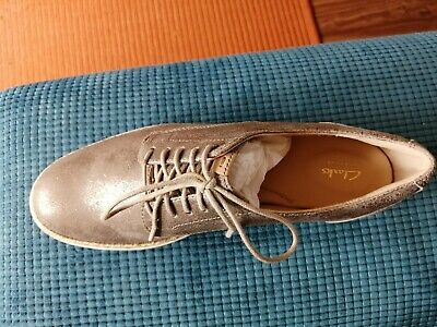 Brand New Clarks Teadale Rhea Pewter Suede Shoes Size 4.5 • 10£