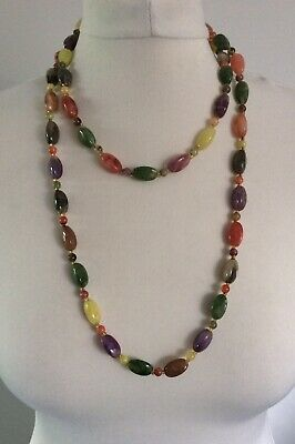VINTAGE PASTEL COLOURED PEBBLE BEADED LONG NECKLACE Summer Festival Holiday • 5£