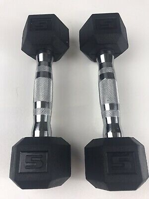 $ CDN60.41 • Buy 5 Lb Dumbbells CAP Rubber Coated Hex Pair (10 Lbs Total) Fast Free Shipping