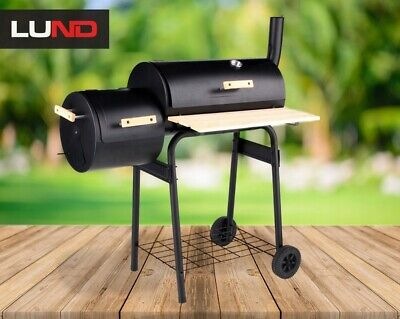 ** LUND BBQ Barbecue Grill Smoker Charcoal Portable Grill Wheels Food Cooking ** • 189.99£