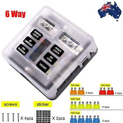 AU19.77 • Buy 19PCS 6 Way Blade Fuse Box Block Holder LED Indicator Light 12V/32V Car Marine