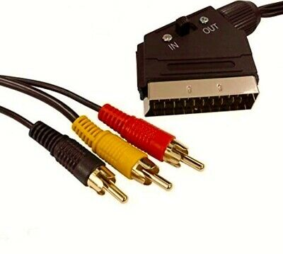 Long Gold Pro Scart To 3 Phono RCA In Out Switchable 5 Metre AUDIO VIDEO Lead • 5.65£
