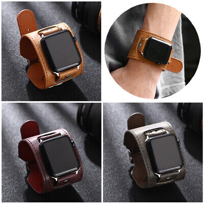 $ CDN13.12 • Buy 40/44mm Leather Cuff Wrist Band Strap For Apple Iwatch Series 6 5 4 3 38/42mm