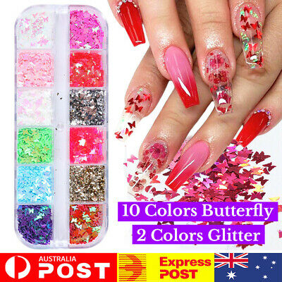 AU4.85 • Buy 12pc 3D Butterfly Flake Nail Glitter Sequins Nail Art Manicure Decors DIY Tips