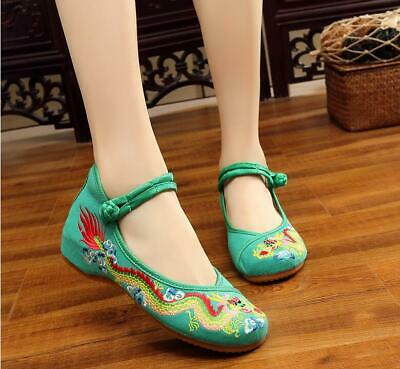 Women's Chinese Dragon Ancient Embroidered Casual Ballerina Flats Soft Shoes • 11.98£