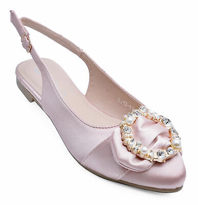 Womens Flat Pink Diamante Party Prom Wedding Dress Shoes Pumps Sizes 3-8 • 12.99£