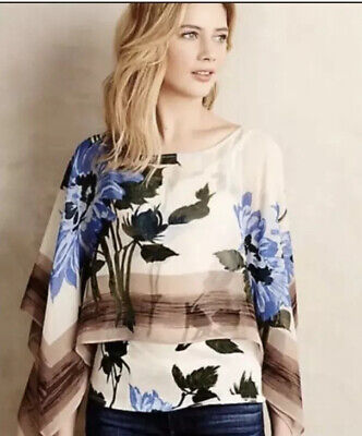 $ CDN42.18 • Buy Tiny Anthropologie Size Large Abjure Poncho Top Floral Print Layered Blouse