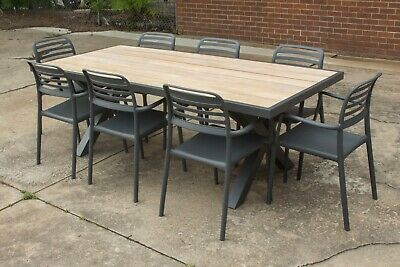 AU1599 • Buy Zeke - 9 Piece Outdoor Setting - Solid Acacia Timber Top