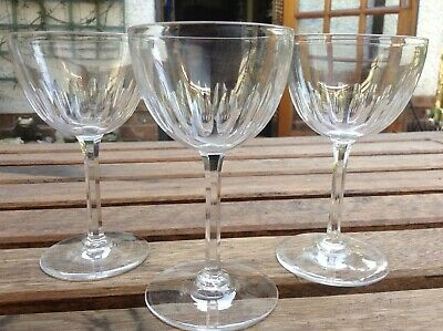 3 X Victorian Port Sherry Fortified Wine Lens Cut Crystal Glasses • 14.99£