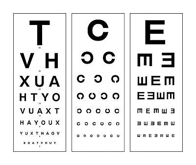Large Framed Print - Modern Eye Chart (Picture Snellen Optician Glasses Test) • 23.95£