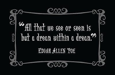 """£7.95 • Buy Framed Print - Edgar Allen Poe Gothic Quote """"All That We See"""" (Picture Poster)"""