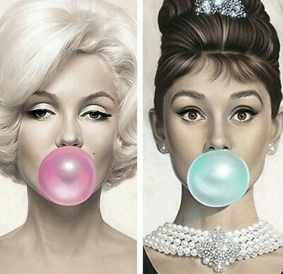 Two Framed Prints - Audrey Hepburn & Marilyn Monroe Blowing Bubbles (Pictures) • 16.95£