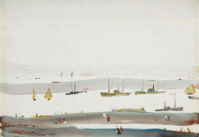 Framed LS Lowry Print - Estuary (Picture Painting English Artist Artwork) • 7.95£