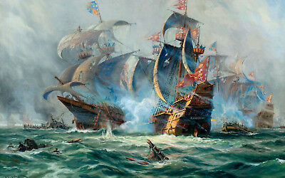 £7.95 • Buy Framed Print - Galleon Class War Ships Battling In The Open Sea (Picture Poster)