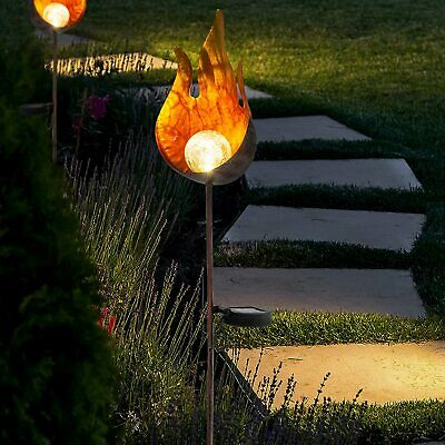 GloBrite Outdoor Flame Solar Lights Garden Crackle Glass Globe Stake Lights UK • 11.95£
