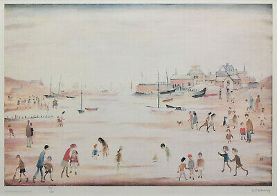 Large Framed LS Lowry Print – On The Sands (Picture Painting English Artist Art) • 24.95£