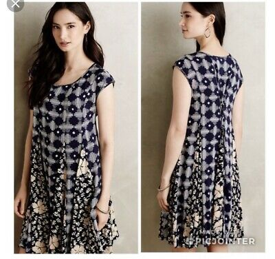 $ CDN34.02 • Buy Anthropologie Indigo Swing Tassel Tie Dress Size Small Batik Print