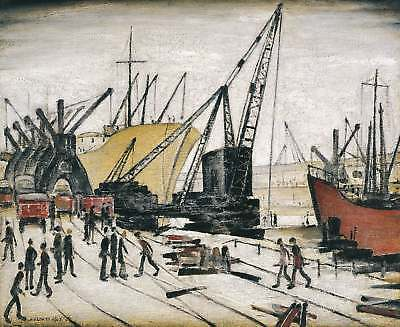Framed Print - LS Lowry Cranes And Ships At Glasgow Docks (Picture Painting Art) • 7.95£