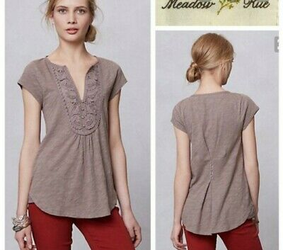 $ CDN22.18 • Buy Anthropologie Meadow Rue Brown Lace Yoke Short Sleeve Top Medium M
