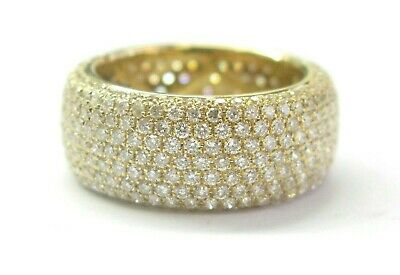 $4500 • Buy Wide Diamond Pave Eternity Band 18Kt Yellow Gold 423-Stones 4.26Ct Size 6 8.7mm