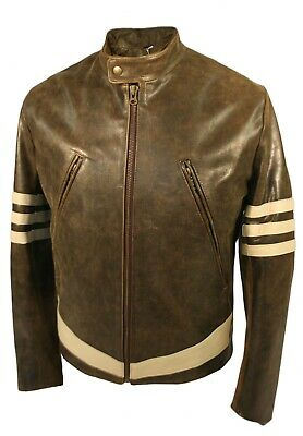 X-Men 1 Wolverine Style Leather Jacket With Cream Stripes As Worn By Hugh Jack • 189£