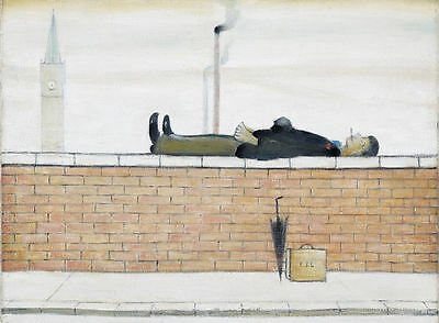 Framed LS Lowry Print – Man Lying On A Wall (Picture Painting English Artist) • 7.95£
