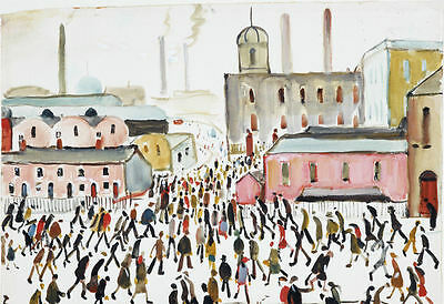 Framed LS Lowry Print – Going To Work (Picture Painting English Artist Artwork) • 7.95£