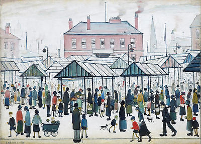 Framed LS Lowry Print – Market Scene (Picture Painting English Artist Artwork) • 7.95£