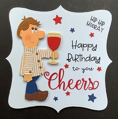A Large Handmade Birthday Card Topper For A Mans Birthday ..cheers 3 • 1.99£