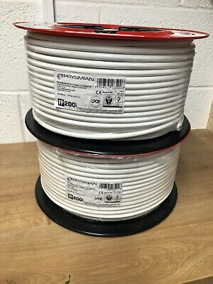 PRYSMIAN FP200 Gold 1.5mm 2core & Earth Fireproof Cable LSOH  White 100 Metres • 75£