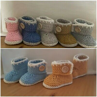 Handmade Crochet Knitted Newborn Baby Girls Boy Booties Boots Ugg Shoes 3 Sizes • 6.95£