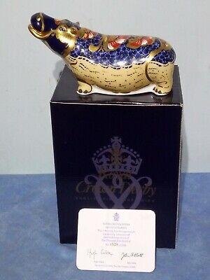 Royal Crown Derby Hippo / Hippopotamus, Boxed, Gold Stopper, Signed Certificate  • 90£