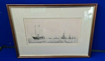 Rowland Langmaid Fleet Review 1935 Framed  Etching Signed With Academy Stamp • 325£
