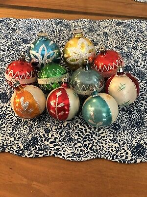 $ CDN13.52 • Buy Vintage Mercury Glass Glitter Christmas Ornaments- Lot Of 10!