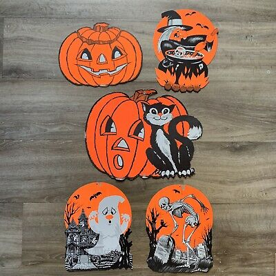 $ CDN18.04 • Buy Vintage Halloween Diecut Decorations Paper Cut Out Die Cut JOL Witch Ghost