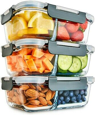 £24.95 • Buy Igluu Glass Meal Prep Containers 2 Compartment Snap Lock Lid [3 Pc] Food Storage