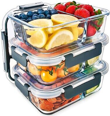 £24.95 • Buy Igluu Glass Meal Prep Containers 3 Compartment SnapLock Lids [3 Pc] Food Storage