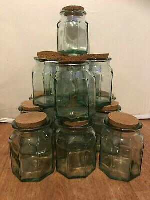 Vintage Retro 1980's Spanish Recycled Green Glass Jars Cork Lids Heavy Large • 18£