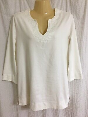 $24 • Buy Lilly Pulitzer Sz S White 3/4 Sleeve Tunic Top Embroidered Cotton Stretch GUC