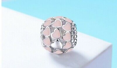 AU29.50 • Buy PINK HEART S925 Sterling Silver Bead Charm By Charm Heaven