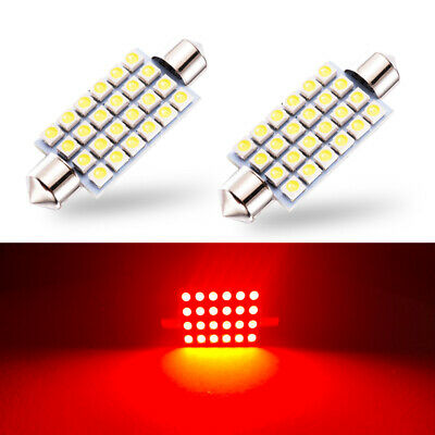 $7.98 • Buy 2 X Red LED Interior Map Dome Trunk Lights 42mm 578 211-2 212-2 Festoon Bulbs