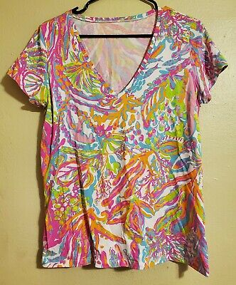 $40 • Buy Lilly Pulitzer Scuba To Cuba Michele Top V Neck Shirt Size L Large