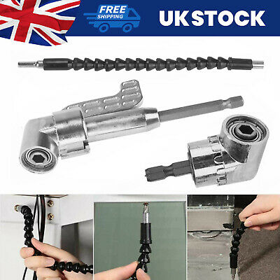 Extension Flexible 105 Degree Right Angle 1/4  Head Screw Driver Angle Bit  Kit • 6.79£