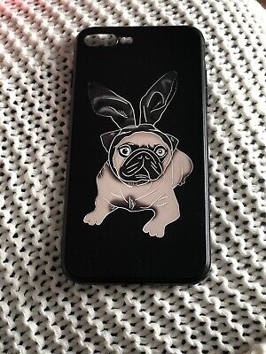Iphone 8 Plus Black Case Pug With Bunny Ears • 5£