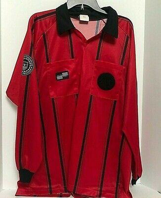 $13.99 • Buy Soccer Fed Official Referee Shirt Jersey Offical Sports Red Black Stripe L