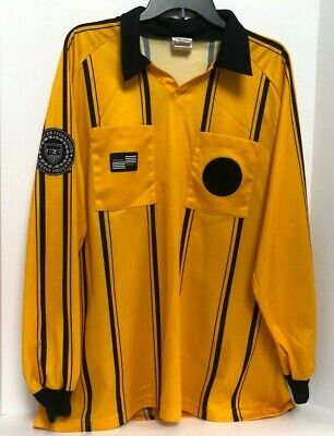 $14.99 • Buy Soccer Fed Official Referee Shirt Jersey Offical Sports Yellow Black Stripe L