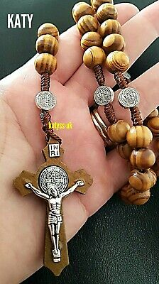 10 Mm Wood Beads INRI Rosary Cross  Necklace Jesus Crucifix Silver Pendant Gift  • 6.80£
